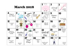 March 2018 Quirky Holidays and Unusual Celebrations. March 2018 calendar illustrated and annotated with daily Quirky Holidays and Unusual Celebrations with Royalty Free Stock Photo