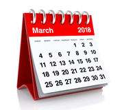 March 2018 Calendar. Isolated on White Background. 3D Illustration Stock Image