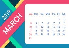 March 2019 Calendar Leaf. Calendar 2019 in flat style. A5 size. Vector illustration. March 2019 Calendar Leaf. Calendar 2019 in flat style. A5 size. Vector stock illustration