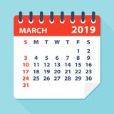 March 2019 Calendar Leaf - Vector Illustration. March 2019 Calendar Leaf - Illustration. Vector graphic page stock illustration