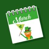 March calendar leprechaun with flag st patricks party. Vector illustration Stock Illustration