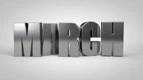 March calendar month metallic text 3d render. Illustration vector illustration
