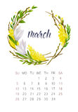 March calendar. New watercolor calendar with floral wreath and hand lettering. Modern calligraphy poster. March 2017 Royalty Free Stock Image