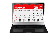 March 2017 calendar over laptop screen. 3d rendering Royalty Free Stock Photo