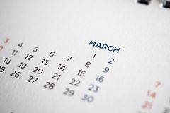 March calendar page with months and dates. Closeup royalty free stock photos