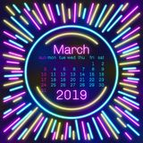 2019. March Calendar page in neon effect style poster for concept typography design, flat color. Week starts on Sunday Happy New y. Ear. Illustration stock illustration