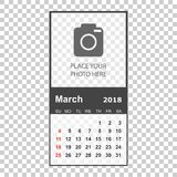 March 2018 calendar. Calendar planner design template with place. For photo. Week starts on sunday. Business vector illustration Stock Photo