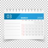 March 2018 calendar. Calendar planner design template. Week star Stock Photography
