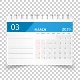 March 2018 calendar. Calendar planner design template. Week star. Ts on Sunday. Business vector illustration Stock Photography