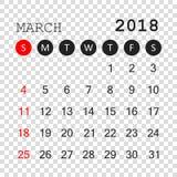 March 2018 calendar. Calendar planner design template. Week star. Ts on Sunday. Business vector illustration Stock Images