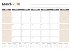 March 2018 calendar planner vector illustration Royalty Free Stock Photos