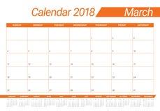 March 2018 calendar planner vector illustration Stock Photography