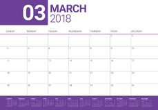 March 2018 calendar planner vector illustration royalty free illustration