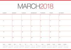 March 2018 calendar planner vector illustration vector illustration