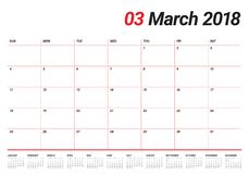March 2018 calendar planner vector illustration Stock Photo