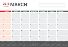 March 2018 calendar planner vector illustration Royalty Free Stock Images
