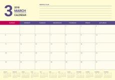 March 2018 calendar planner vector illustration Royalty Free Stock Image