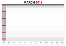March 2018 calendar planner vector illustration Royalty Free Stock Photography