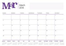 March 2018 calendar planner vector illustration Stock Image