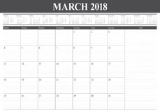 March 2018 calendar planner vector illustration Stock Photography