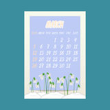 March 2017  calendar with snowdrops flowers on blue background. Vector illustration Stock Photo