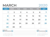 March 2020 Calendar template, Desk calendar layout  Size 8 x 6 inch, planner design, week starts on sunday, stationery design