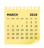 March 2018 calendar vector illustration royalty free illustration