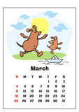 March 2018 calendar. Wall calendar for  march, 2018 with funny dogs. Fun children`s illustration in cartoon style. Colorful vector background. Vertical Stock Image