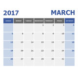 2017 March calendar week starts on Sunday Stock Images
