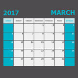 March 2017 calendar week starts on Sunday. Stock vector Royalty Free Stock Images