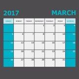 March 2017 calendar week starts on Sunday. Stock vector royalty free illustration