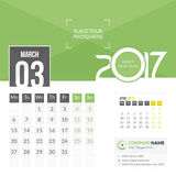 March 2017. Calendar 2017. March 2017. Calendar for 2017 Year. 2 Months on Page. Vector Design. Template with Place for Photo and Company Logo Royalty Free Stock Photo