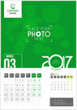 March 2017. Calendar 2017. March 2017. Calendar for 2017 Year. 2 Months on Page. Vector Design. Template with Place for Photo and Company Logo Royalty Free Stock Photography