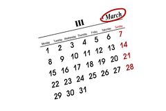 MARCH calender. Over white background Royalty Free Stock Images