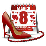 8 March card. Calendar with the date of March 8, womens shoes, red beads. 8 March card. Design elements for the International Womens Day. Calendar with the date Stock Image