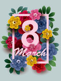 8 March card with colorful flowers in the frame. 8 March. Happy Women`s Day card with colorful flowers in the frame. Vector greeting card template royalty free illustration