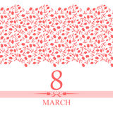 8 March card congratulations with horizontal pink tulips. Vector illustrations of card 8 March congratulatory card with horizontal pink tulips ornament Stock Images