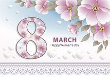 March 8 card. 8 march congratulatory card with pink flowers and hearts Royalty Free Stock Photos