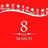 8 March card decorated different flowers on red background Royalty Free Stock Photos