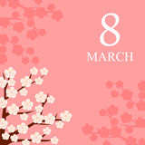 8 March card decorated with flowering branches. Vector illustrations of 8 March card decorated with flowering branches Royalty Free Stock Image