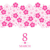 8 March card decorated pink flowers horizontal ornament. Vector illustrations of 8 March card decorated pink flowers horizontal ornament Royalty Free Stock Image