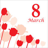 8 March card decorated tulip silhouette. Vector illustrations of 8 March card decorated tulip silhouette Stock Images