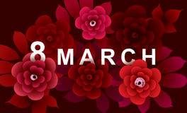 8 March Card with flowers. On dark background. International Women`s Day. Vector illustration Stock Photography