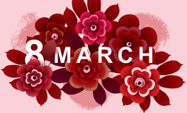 8 March Card with flowers. International Women`s Day bacground . Vector illustration Royalty Free Stock Photos