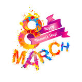 8 march card. Happy women`s day!. Splash paint Royalty Free Illustration