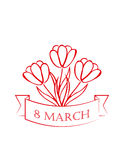 8 march card. sketch. vector. 8 march white  card with red tulips. sketch. vector Royalty Free Stock Photos