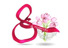 8 march card. Wiwh tulups and ribbon isolated on white Royalty Free Stock Photo