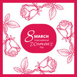 8 march card. 8 march. Woman`s day greeting card with red rose, template stock illustration