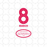 8 march card. 8 march. Woman`s day greeting card, template. Flower wreath seamless pattern on backdrop royalty free illustration