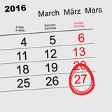 March 27, 2016 Catholic Easter. Easter egg Calendar Royalty Free Stock Photo